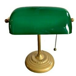 Vintage Bankers Desk Lamp Green Glass Shade Brass Stand Antique Table Light GUC $79.99
