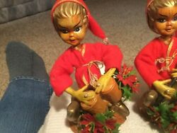 CHRISTMAS PLASTIC ELF girls DECORATIONS WITH INSTRUMENTS Hong Kong Vtg $9.00