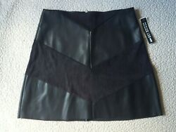 Faux Leather Short Skirt Design Lab by Lord amp; Taylor Black Size Small $58 NEW $32.98