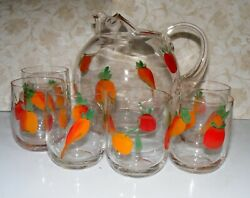 Vintage Glass Fruit Juice Pitcher with 6 Juice Glasses see all pics  $18.99