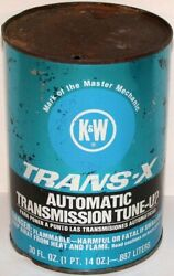 Vintage oil can K and W TRANS X AUTOMATIC TRANSMISSION TUNE UP rd 1 quart metal $9.99
