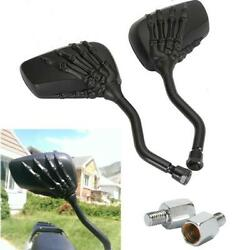2x Skull Hand LED Integrated Turn Signal Mirrors For Motorcycle Cruiser 8MM 10MM