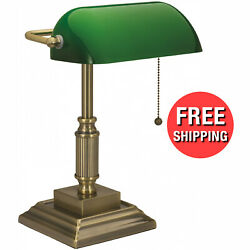 Classic Bankers Desk Lamp w Green Glass Shade Student Home Office Table Light $57.95