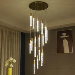 LED Chandeliers Crystal Pendant Lighting Fixtures Modern Living Room Lamp Lobby