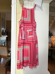 Crown & Ivy coral sundress dress with polka dot designs all over Sz Med