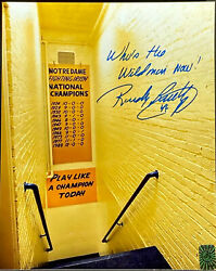 RUDY RUETTIGER SIGNED INSCRIBED 8x10 LOCKER ROOM WHO'S THE WILD MAN NOW #45 HOLO