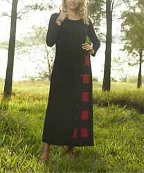 Black amp; Red Plaid Buttons Accent Maxi Dress Size 1X $18.39