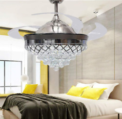 42quot; Remote Invisible Blades LED Chandelier Crystal Retractable Ceiling Fan Light $174.59