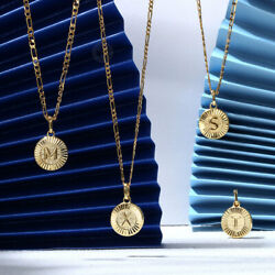 18quot; New Gold Plated Initial Letter Necklace Pendant Stainless Steel Figaro Chain $8.79