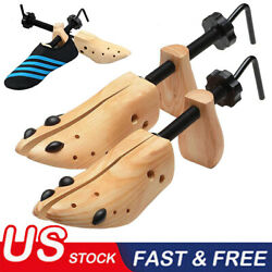 One Pair 2 way Wooden Adjustable Shoe Stretcher for Men Women Size 9 13 BA $16.62