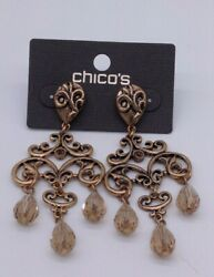Chico's gold chandelier earrings NWTS $7.99