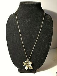 VTG Avon Leaf Acorn Necklace with Pin Pendant Brooch Faux Pearl Gold Tone New $22.00