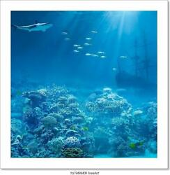 Sea Or Ocean Underwater With Art Canvas Print. Poster Wall Art Home Decor $56.95