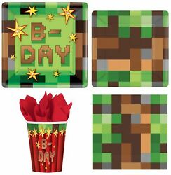 TNT Minecraft Party Express Pack for 8 Guests Cups Napkins amp; Plates $10.95