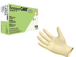 100 count SemperCare Latex Rubber Gloves Small Medium or Large $15.99