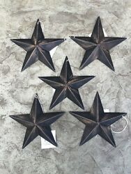Set of 5 BLACK BARN STARS 5.5quot; PRIMITIVE RUSTIC COUNTRY FARMHOUSE DISTRESSED $12.99
