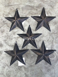 Set of 5 DISTRESSED BLACK BARN STARS 5.5quot; PRIMITIVE RUSTIC COUNTRY FARMHOUSE $13.00