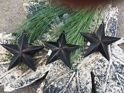Set of 3 Distressed BLACK BARN STARS 5.5quot; PRIMITIVE RUSTIC COUNTRY DECOR $10.99