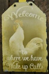 Rooster Chicken Rustic Farm Sign Distressed Country Decor $34.99