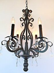New 4 light Dark Bronze mini chandelier with crystals light fixture ORB
