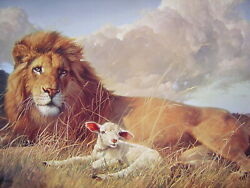Lion and the Lamb Religious Christian PRINT  8