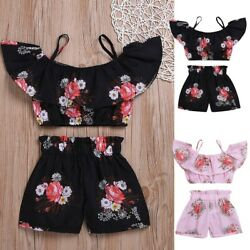 Summer Toddler Kids Baby Girls Floral Suspenders Tops +Shorts Outfit Set Clothes $6.08