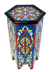 Moroccan Pedestal Table Painted Tall Blue Handmade Authentic Solid Wood Decor $327.75