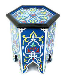 Moroccan Side Table Painted Blue Authentic Decor Accent Corner End Piece Size 2 $185.25