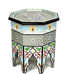 Moroccan Side Table Silver Accent End Corner Piece Painted Handmade Authentic $327.75