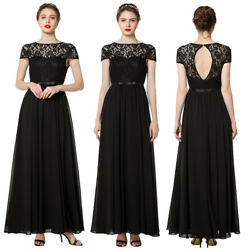 Women Bridesmaid Lace Black Long Dress Wedding Banquet Party Ball Dresses Formal