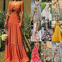Women Sleeveless Boho Floral Maxi Dress Ladies Summer Beach Party Casual Dresses $16.52