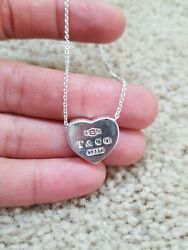 Tiffany & Co. Concave Solid Heart Necklace Pendant with 18