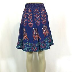 Indian Mandala Boho Hippie Printed Short Wrap Around Skirt Rayon BLUE $11.99