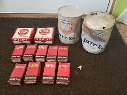 Lot of Vintage Old Parts Niehoff Ignition Condenser Rotor Phillip#x27;s 66 Oil Can $25.00