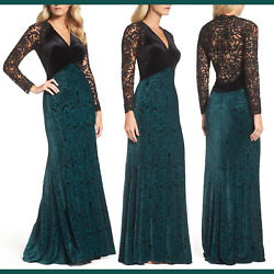 NEW Tadashi Shoji V-Neck Velvet & Illusion Gown in BlackForest [PLUS 18Q ] F834