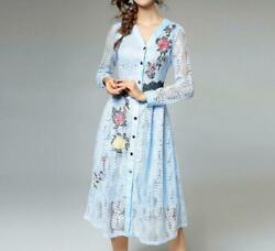 Women Single Breasted Temperament Embroidery V Neck Lace Hollow Out Dress Ting1 $59.75