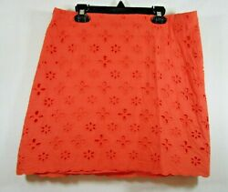 ***Women#x27;s Ann Taylor Loft Size 8 Orange Lace Pencil Skirt $12.34