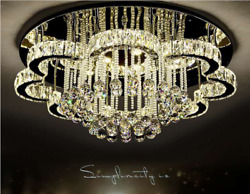 Modern Chandelier Crystal Glass Dimmable LED Ceiling Light With Remote Control $269.99