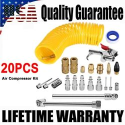 20 Set 25ft Deluxe Air Compressor System Accessory Kit Hose Gun Nozzles Chuck US
