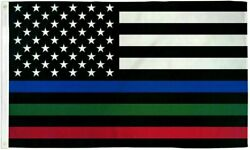 USA Thin Red Blue amp; Green Line 3x5ft Flag Grommets Police Fire Military $5.89