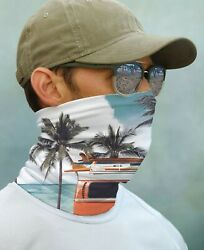SUN GAITER Mask UPF 50+ UV Protecter Retro Surf Board Bus Beach Face Neck Blue $14.99