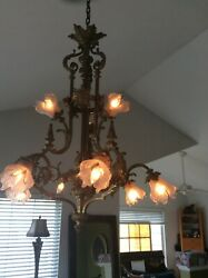antique french bronze chandelier 24k gold-plated Louis VI. From Boston mansion