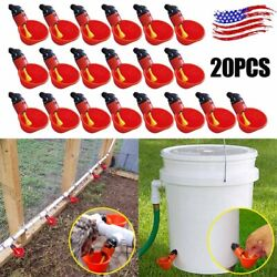 20 Pack Poultry Water Drinking Cups Chicken Hen Quail Plastic Automatic Drinker $13.91
