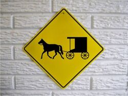 AMISH Horse and Buggy Cute Novelty Crossing Sign 12x12 Country Decor Signs $14.99
