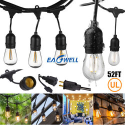 US 15.8M 52FT LED Outdoor Waterproof Commercial Grade Patio String Lights Bulbs