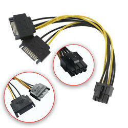 Dual SATA to PCI E Power Cable 15Pin SATA to 8 pin 6 pin Video Card Power Wire $5.75