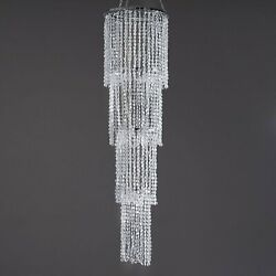 CLEAR 36quot; long 4 Tiers Faux Crystal Beaded Chandelier Wedding Party Decorations $62.02