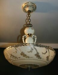 Antique Porcelier cream glass 14 inch shade Art Deco light fixture chandelier