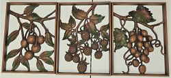3 Vint SYROCO Fruit GRAPE CHERRY amp; BERRIES Mid Century Modern WALL PLAQUES $29.95