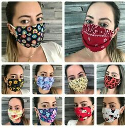 Adjustable Fashion Filter Pocket 100%Cotton Face Mask Washable Double Cotton USA $10.57